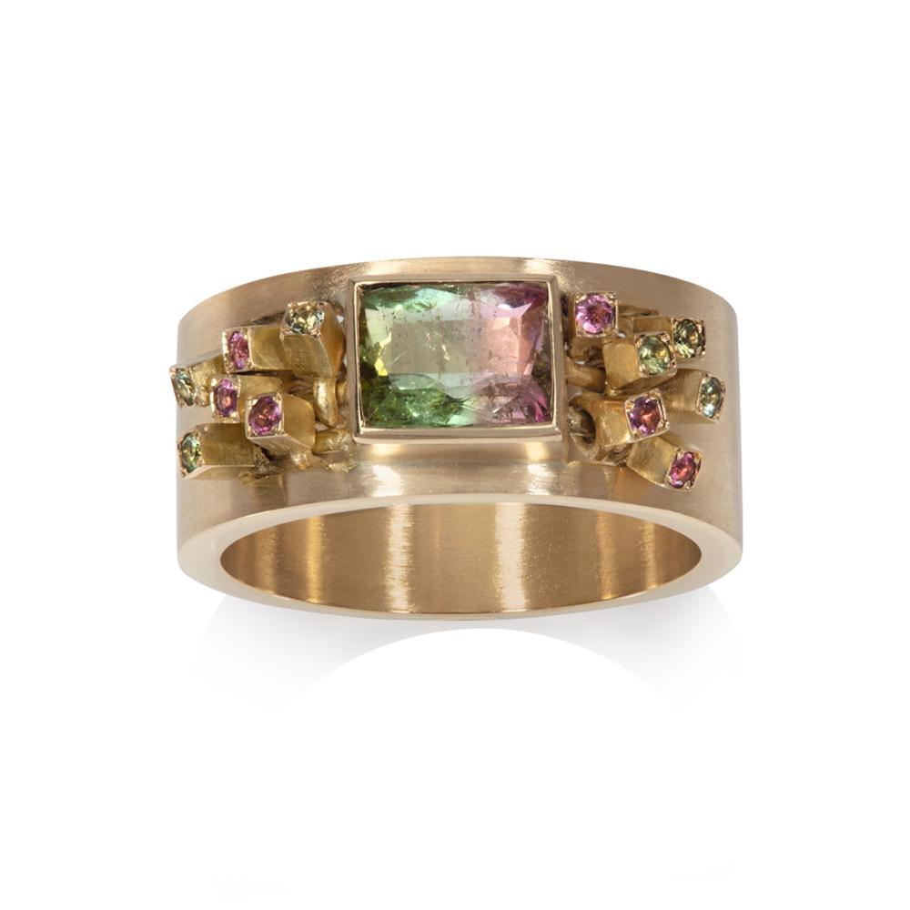 Tourmaline Ruffle Ring